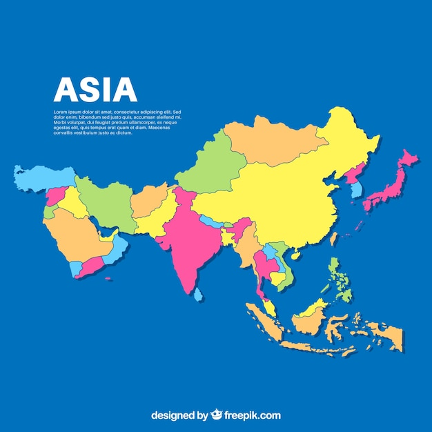 Download Map Of Asia.Map Of Asia In Flat Style Vector Free Download