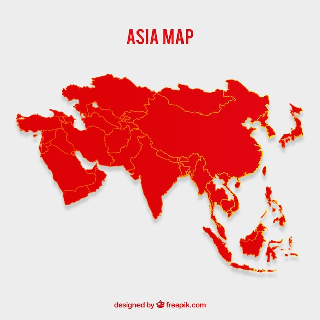 Map Of Asia Vector.Map Of Asia In Flat Style Vector Free Download