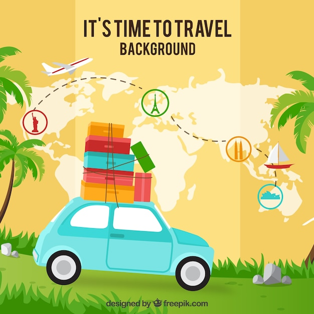 Map background and car with suitcases Free Vector