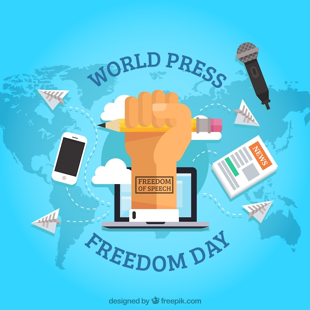 Map background with fist claiming freedom of the press Free Vector