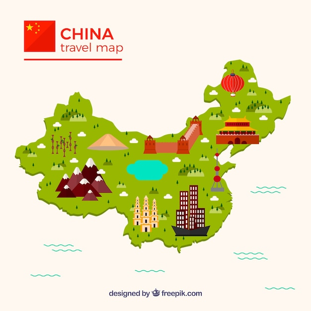 Map of china with monuments Vector | Free Download