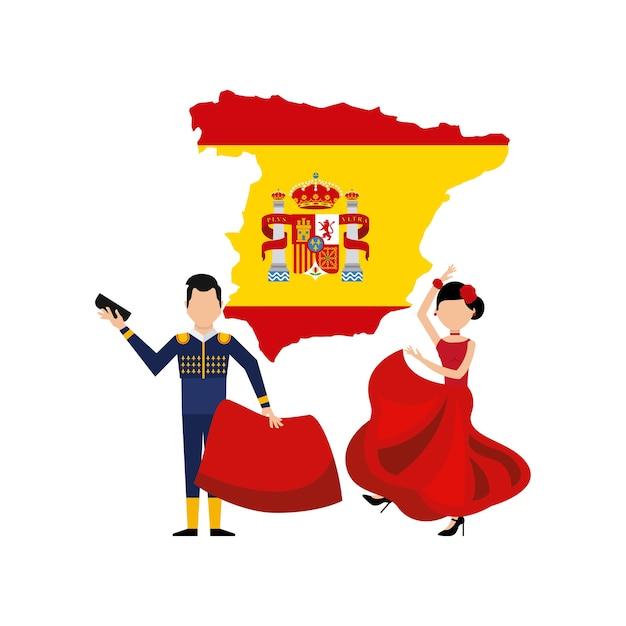 Map classic icon of spanish culture Premium Vector