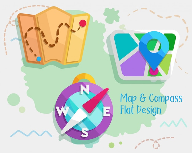 Map and compass flat design Premium Vector