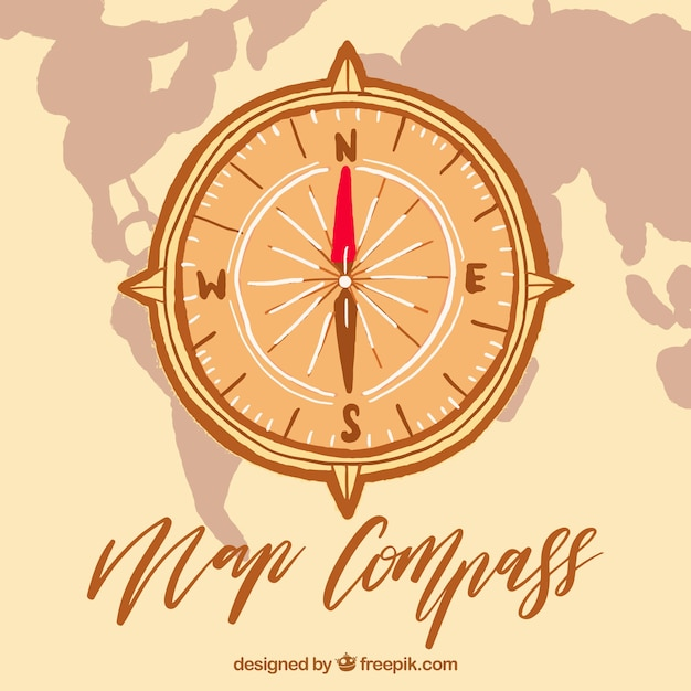 Map compass with world map Vector | Free Download
