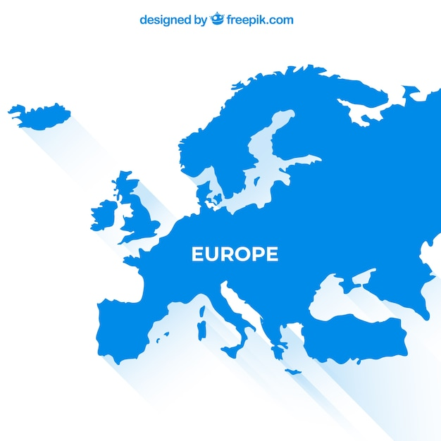 Map of europe with colors in flat style Free Vector