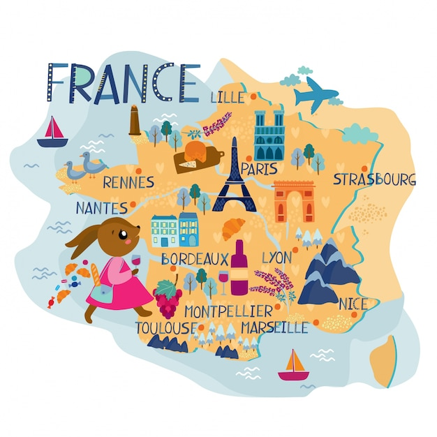 Map Of France Toulouse.Map Of France Illustration Vector Premium Download