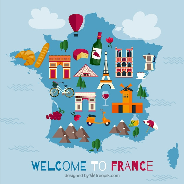 Map of france with landmarks Free Vector