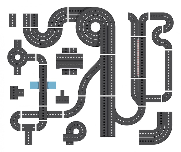 Map from different fragments of city road. highway traffic, intersecting and cars. top view vector set Premium Vector