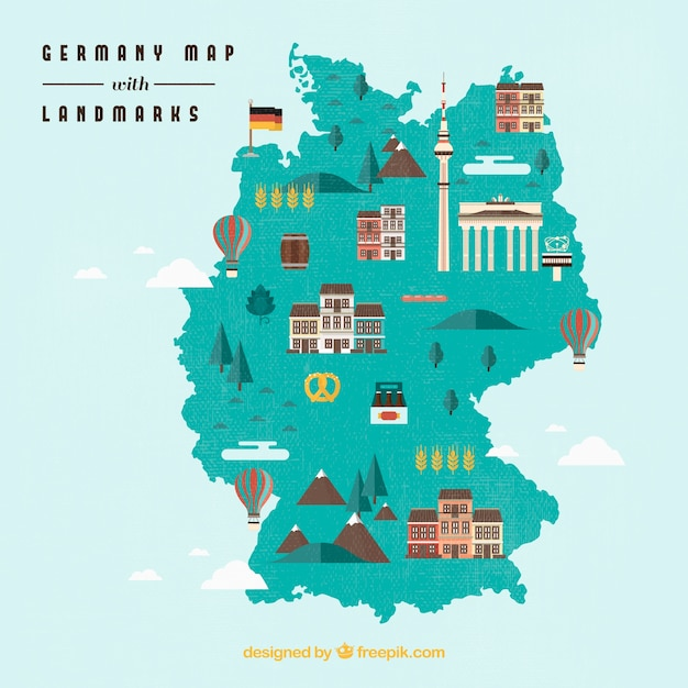 Map of germany Free Vector
