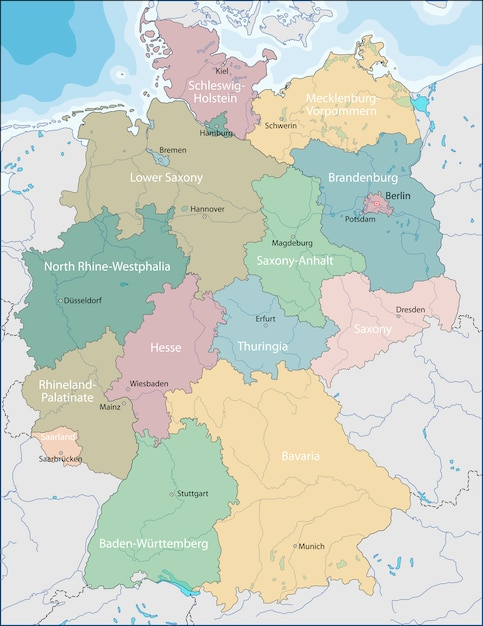 Map of germany Premium Vector