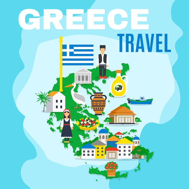 Map greece poster Free Vector
