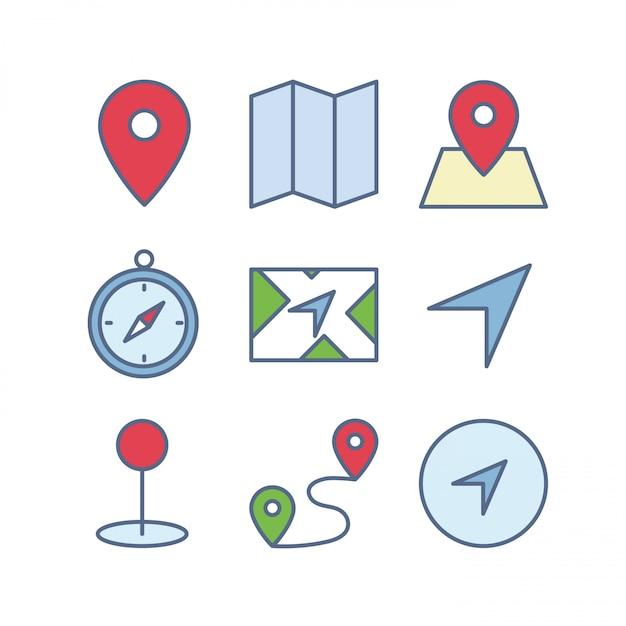 Map icons set Premium Vector