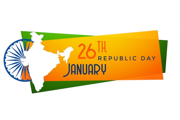 Map of india republic day banner design Free Vector
