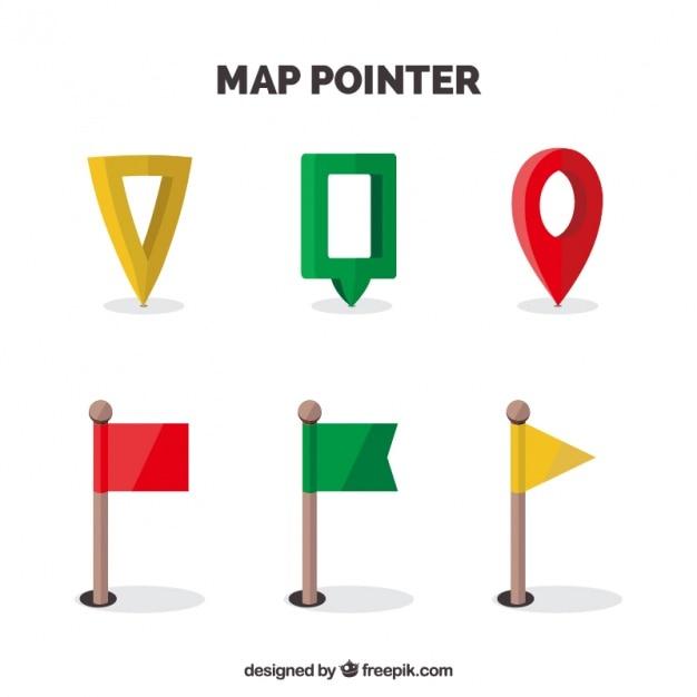 Mappa localizzatori pacchetto in stili diversi Vettore gratuito
