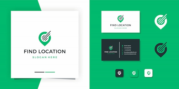 Map logo or find location logo design with business card design Premium Vector