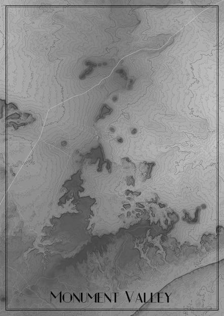 Mappa di monument valley, arizona. mappa altimetrica del parco nazionale. mappa concettuale di rilievo superficiale. poster di contorno topografico. Vettore gratuito