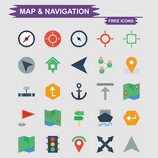 Map & navigation free icon set Vector | Premium Download Download Maps For Navigation on