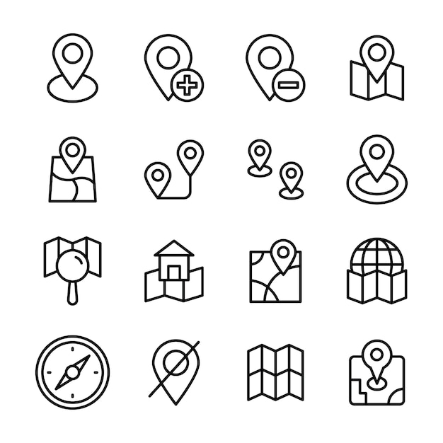 Map navigation line icons pack Premium Vector