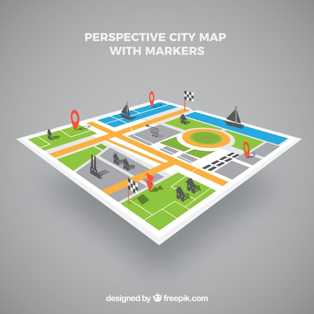 Map of city in perspective with markers Free Vector
