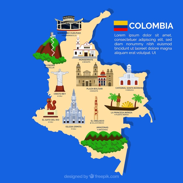 Map of columbia with landmarks Vector | Free Download