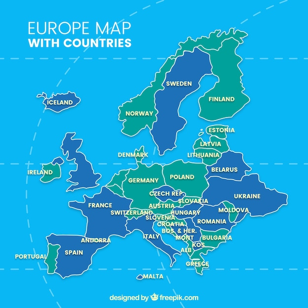 Map of europe with countries of colors
