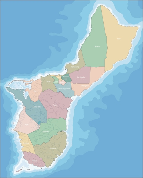Map Of Guam Vector Premium Download - Guam world map