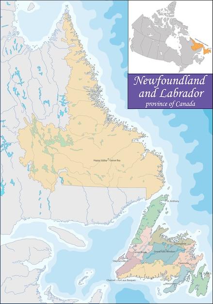 Map Of Newfoundland And Labrador Vector Premium Download - Newfoundland and labrador map