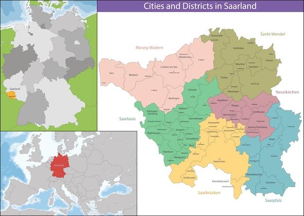 Map of Saarland Vector Premium Download