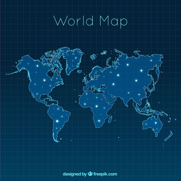 map of the modern world with bright spots vector free download