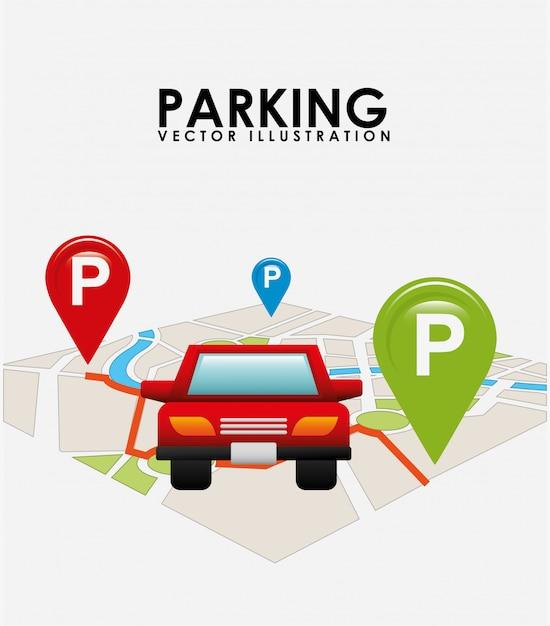 地図駐車サービス 無料ベクター