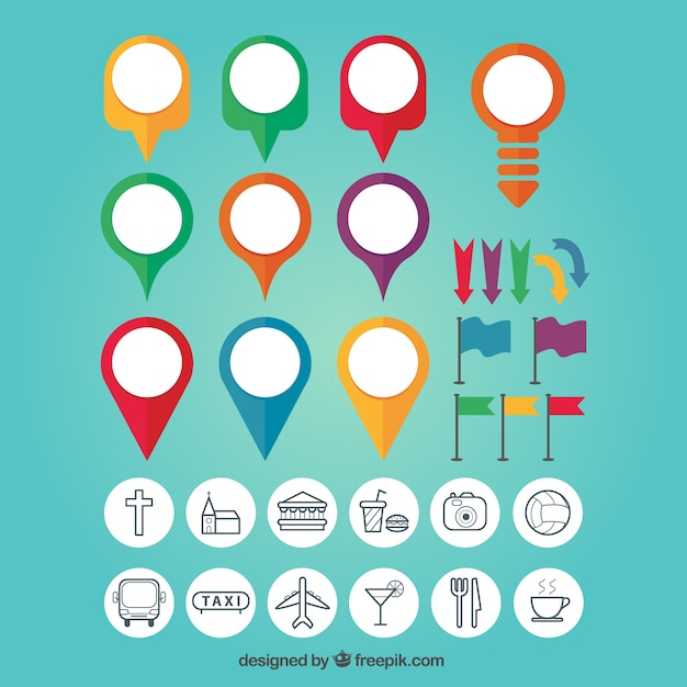Map Pin Colourful Set Premium Vector