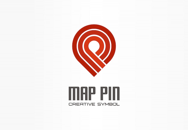 Map pin creative navigation symbol concept. finish gps location marker abstract business transport logo. travel checkmark direction, logistics icon. Premium Vector