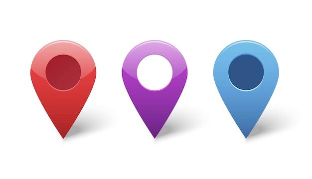 Набор маркеров указателя gps на карте для значков места назначения Premium векторы