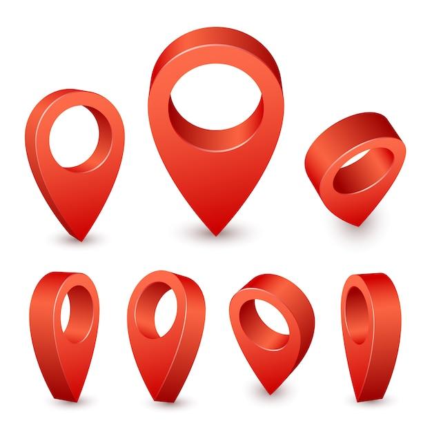 Указатель карты 3-контактный. красный штифт маркер для места путешествия. набор символов местоположения на белом фоне Premium векторы