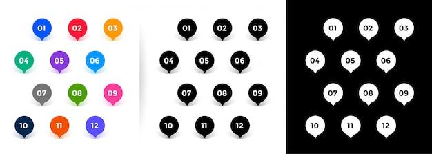 マップポインタースタイルの箇条書きの番号は1から12まで 無料ベクター