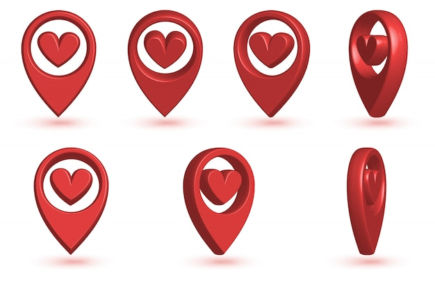 Map pointer with heart icon. Premium Vector