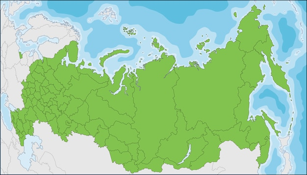 Map of the russian federation with federal subjects Premium Vector