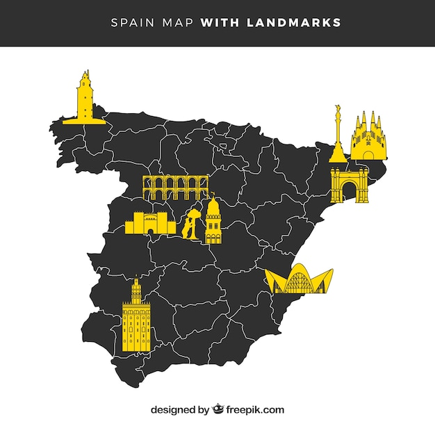 Map of spain with monuments Free Vector
