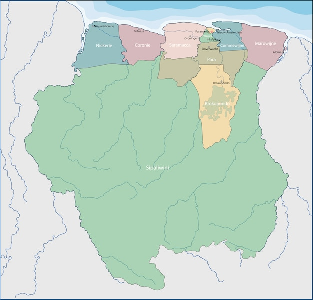 Map Of Suriname Premium Vector