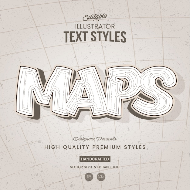 Map and terrain white text style Premium Vector