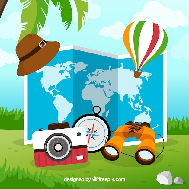 Map and travel elements with flat design Free Vector