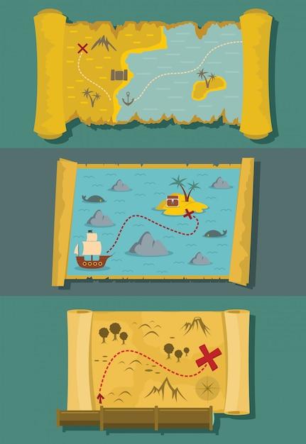 Map of treasure backgrounds Premium Vector