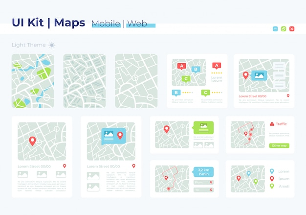 Map ui elements kit Premium Vector