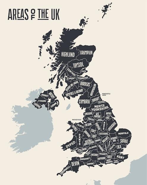 Карта соединенного королевства. плакатная карта областей соединенного королевства. черно-белая печатная карта соединенного королевства. рисованная графическая карта с областями. Premium векторы