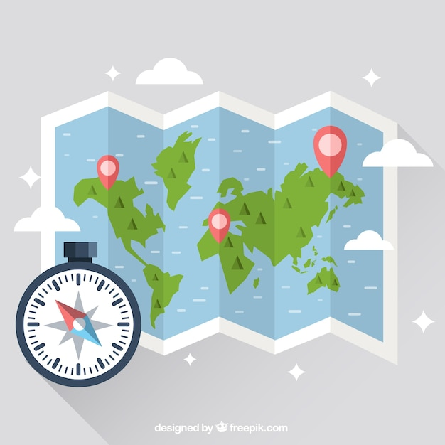 Map with compass design Free Vector