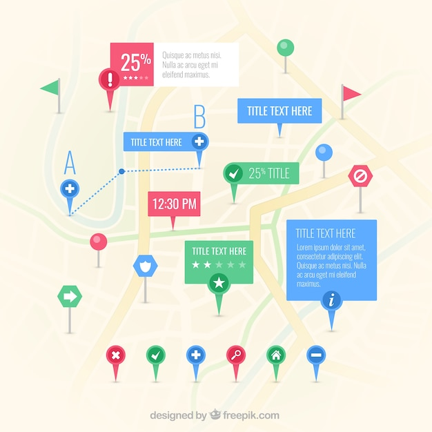 Map with many pointer Free Vector
