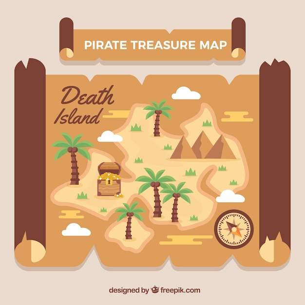 Map with palm trees and pirate treasure Free Vector