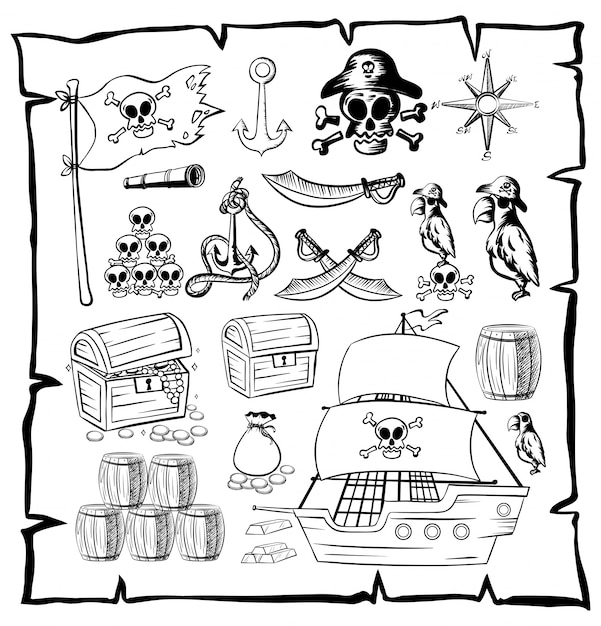 Map With Pirate Symbols Vector Free Download