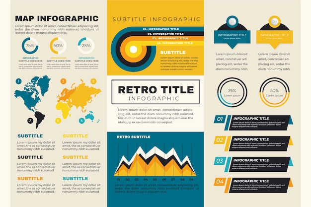 Map worldwide infographic with retro colours Free Vector