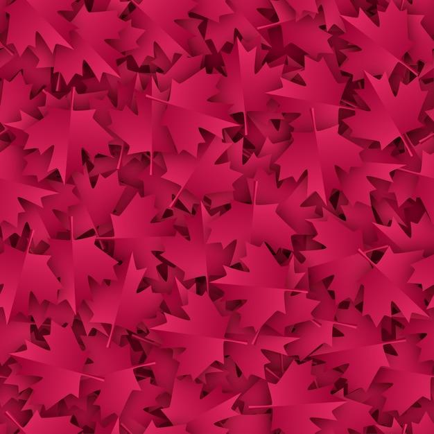 Maple seamless pattern paper cut in burgundy color palette. Premium Vector